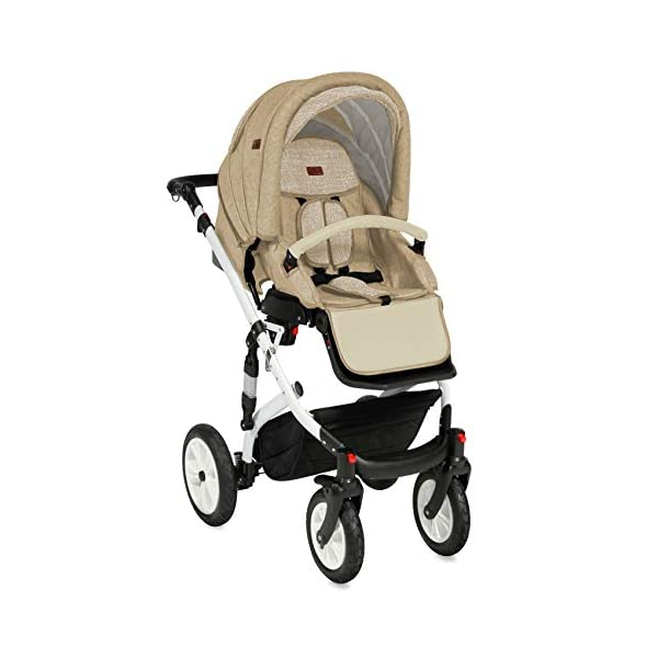 Lorelli Mia 3 in 1 Pneumatic tyre Pushchair, car seat, Baby Bath, Sports seat, Colour:Beige Lorelli matching easy to assemble car seat, baby bath, sports seat, mosquito protection, rain cover and diaper bag included in the scope of delivery Pneumatic tires (rubber tires) and suspension for easier driving easily foldable - adjustable and extendable sunroof with window and bag 3