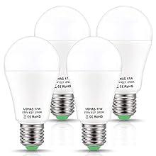 LOHAS Ampoule LED E27 Blanc Chaud, A60, 17W (Équivalent Ampoule Incandescente de 150W), 2700K, 1600LM, Non Dimmable, Culot E27, Angle de Faisceau de 180 Degrés, Lot de 4