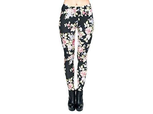 Leggings Damen Bedruckt Sexy Leggins Ladies mit Print Look Motiv Muster Stretch Legins Hose von Alsino, Variante wählen:LEG-030 Blumen