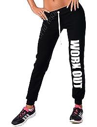 elomoda Jogging Hose mit WORK OUT Druck Sport Hose BW mit Lycra, Gr. S M L XL XXL 3XL, p980