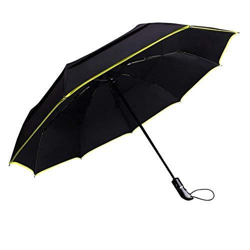 Ombrello automatico pieghevole - grande ombrello impermeabile antivento da viaggio - automatica chiusura e apertura - doppia copertura con 9 ribs (nero)