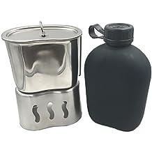 jolmo Lander militares cantimplora 1litro y Cantina taza de acero inoxidable 0.7L con tapa y Cantina taza de acampada/Soporte & ACU Oxford bolsa 5pcs Kit