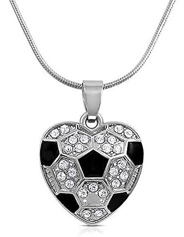 Cristal en forme de cœur Ballon de foot Collier pour filles, adolescents et Femmes