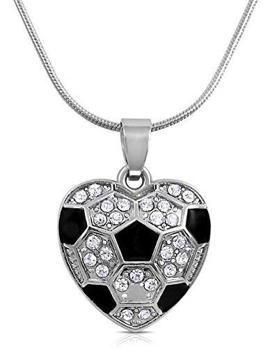 Fußball Herzform Kristall Halskette für Mädchen, Teenager und Frauen von Glamour Girl Geschenke Kollektion