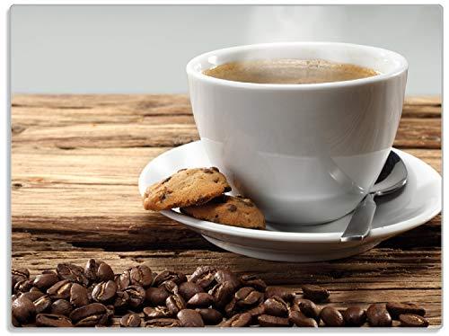 Wallario Stilvolle Glasunterlage/Schneidebrett aus Glas, Heiße Tasse Kaffee mit Kaffeebohnen, Größe 30 x 40 cm, Kratzfest, aus Sicherheitsglas (Kaffee-glas-schneidebrett)