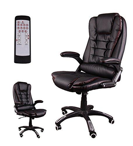 Giosedio bsb massaggiante poltrona elegante per ufficio, sedile in pelle confortevole, sedia reclinabile, reclinabile, sedia scrivania, poltrona ufficio similpelle, altezza regolabile, girevole (nero)