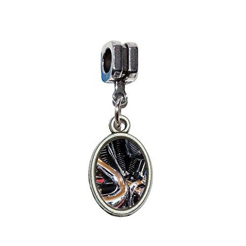 Motorrad Chrom Motor Zylinder Auspuff Italienisches europäischen Euro-Stil Armband Charm Bead–für Pandora, Biagi, Troll,, Chamilla,, andere