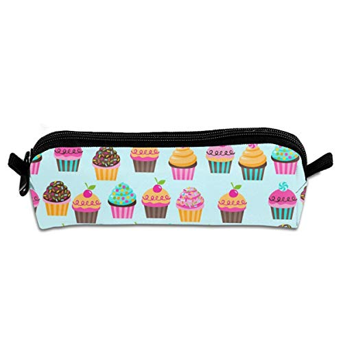 SUGAR RUSH Cupcakes Student Polyester Double Zipper Pen Box Boys Girls Pencil Case Cosmetic Makeup Bag Pouch Stationery Office School Supplies 21 X 5.5 X 5 cm