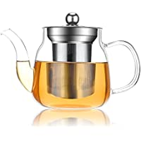 HaoHan Teapot, tea pot 600ml/22 oz, Heat Resistant glass Teapot with Removable Infuser, Microwavable and Stovetop Safe.