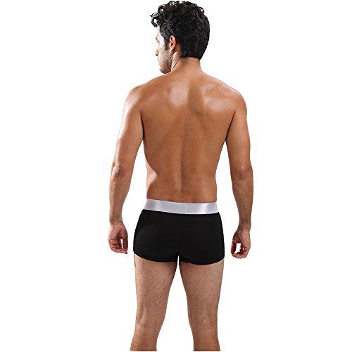 CAIKENI Herren Unterhose Soft Modal Boxershort mit ausgestelltem silbernen Bund Black
