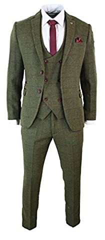 Mens 3 Piece Herringbone Tweed Olive Green Wine Check Suit