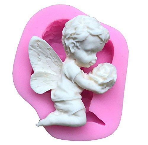Inception pro infinite sa036 - stampo in silicone per uso alimentare di un angelo con un fiore di rosa tra le mani - pasta di zucchero - fondenti - torte - pancake - muffin - decorazioni