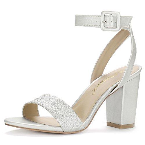Allegra K Women's Glitter Vamp Chunky Heel Ankle Strap Sandals (Size US...