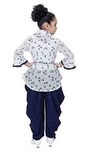 Indian Evergreen Girl's Ethnic Kurti Rayon Patiyala Harem Dhoti Suit for Marriage Blue