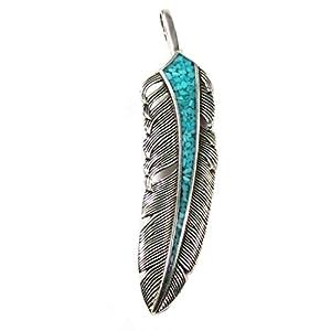Indianerschmuck Kettenanhänger aus Sterling Silber – Spirit Feather, Türkis groß
