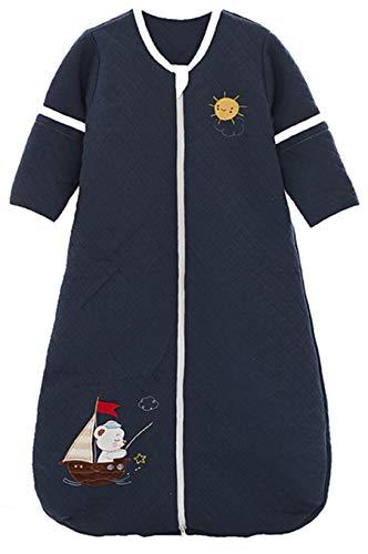 Chilsuessy Babyschlafsack Baby Ganzjahres Schlafsack mit abnehmbaren Ärmeln für Säugling Kinder Schlafsack Schlafanzug aus 100% Baumwolle, Dunkelblau, 110/Baby Höhe 95-115cm