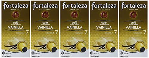 Café FORTALEZA - Cápsulas de café con Aroma Vainilla Compatibles con Nespresso - Pack 5 x 10 - Total 50 Cápsulas
