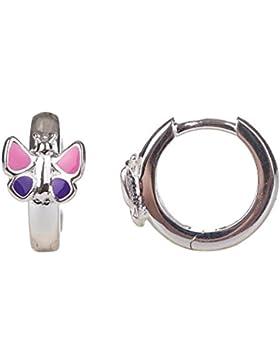 Unbespielt Schmuck Ohrschmuck Echt Silber Ohrringe Silber 925 Creolen Schmetterling pink lila für Kinder 12 x...