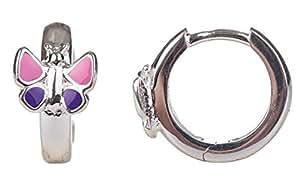 Unbespielt Schmuck Ohrschmuck Echt Silber Ohrringe Silber 925 Creolen Schmetterling pink lila für Kinder 12 x 7 mm glänzend mit Steckverschluss inklusive Schmuckbox