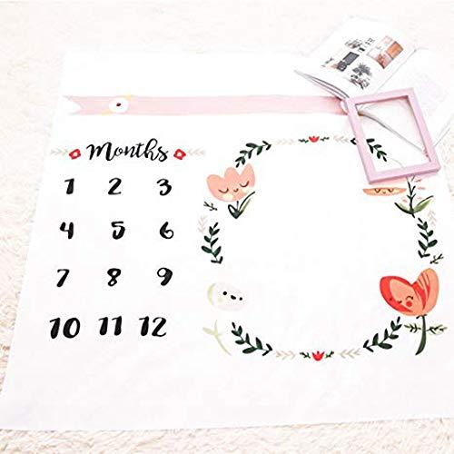 Winslet Baby Blumenkranz Print Milestone Decke mit Monatliche Wachstum Diagramm Hintergrund Neugeborene Baby Fotografie Requisiten (flower2)