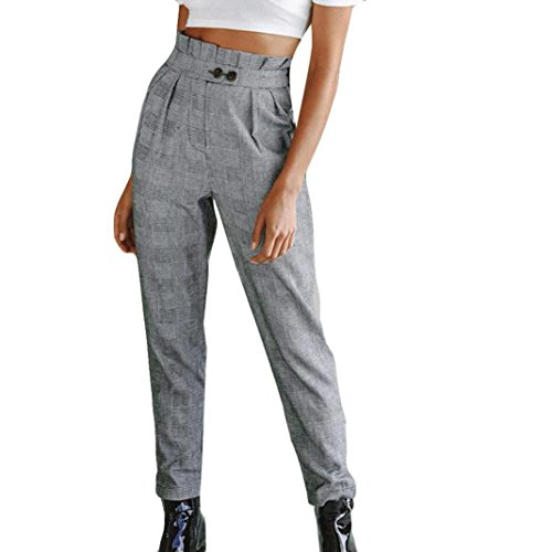 Damen Hosen cinnamou Sommerhosen Frauen Elegant High Waist Stretch Stripe Pants mit Knopf lose lange Hosen Pants Casual Streetwear Hosen Pluderhosen (Grau, XL)