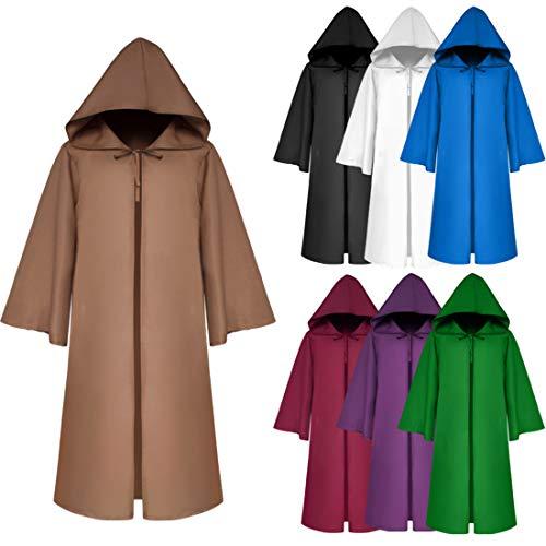 FLYA Halloween-Todesumhang-Mantel-mit Kapuze Robe des Erwachsenen Kindes mit Kapuze Mantel-Vampirs-Maskerade,Jujube- Adult XL