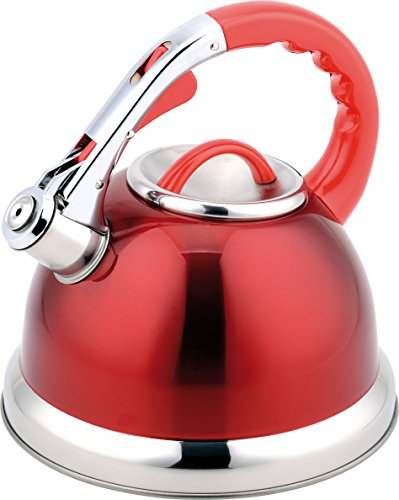 cookspace® Premium, élégant pour dessus de poêle, Bouilloire Sifflante, Plaques à Induction, grand 3,5 L, rouge, avec poignée Soft Touch et bouton poussoir en acier inoxydable et bec verseur