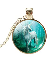 HENGSONG Unicorn Necklace Charm Pendant Necklace Jewelry Gifts for Women Men Girls Boys Unisex (Style 4)