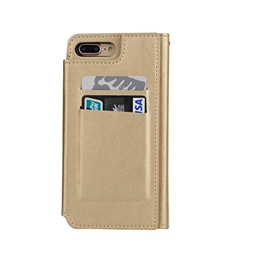 iPhone 7 Plus Hülle, Vandot Geldbörse Wallet Reißverschluss Karte Schutzhülle für iPhone 7 Plus PU Leder Zipper Flip Case Cover Kreditkartentaschen mit Kreditkarte Card Slots Brieftasche Holster Und M Mirror Gold
