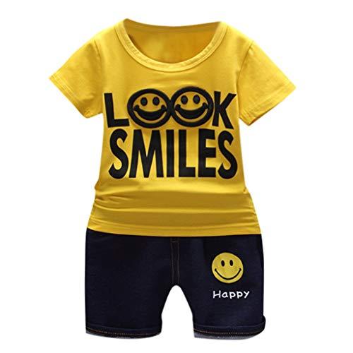 6ec8521dbc1bc T-Shirt Jeans à Manches Courtes Look Smiles Smiley à Manches Courtes pour  Enfants