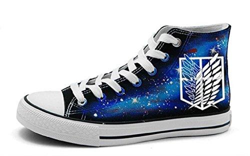 Bromeo attack on titan sneaker hi-top sneaker unisex scarpe luminoso, unisex, attack on titan