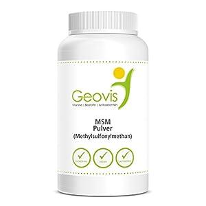 MSM Schwefel Pulver | ZERTIFIZIERT & LABORGEPRÜFT | 1kg hochdosiertes 99,9% reines Methylsulfonylmethan | in Premium Qualität | Gelenke - Haarwachstum | Nahrungsergänzung Geovis
