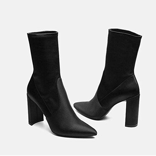 signore alti Stretch black WYWQ del punta in Le Boots Martin polpaccio Cucire Heel blocco Punta Metà Tacchi cuoio Dimensione BwqgqR5