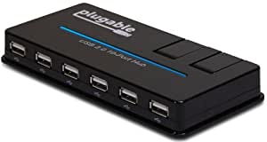 Plugable USB 2.0 10-Port High Speed Hub with 20W Power Adapter and Two Flip-Up Smart Charging Ports (BC 1.2 Charging Support for Android, Apple iOS, and Windows Mobile Devices)