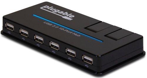 Plugable USB 2.0 10 Port High Speed Hub mit 20W Netzteil für EU & GB, zwei hochklappbare intelligente USB Aufladeschnittstellen (BC 1.2 Ladefunktion für Apple iOS, Android und Windows Mobile)