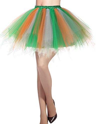Dresstells Damen Tüllrock 50er Rockabilly Petticoat Tutu Unterrock Kurz Ballett Tanzkleid Ballkleid Abendkleid Gelegenheit Zubehör Green-White-Orange L