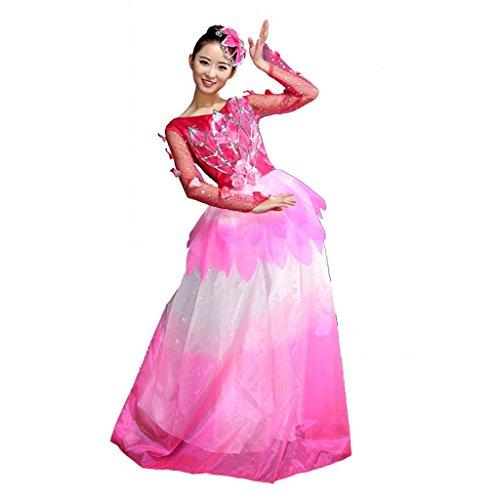 Wgwioo Regenschirm Tanz Flamenco Kleider atmosphäre eröffnungszeremonie modern Klassische kostüme Erwachsene Frauen chor bühne Big Swing Rock national Performance kostüm, red, XXXL