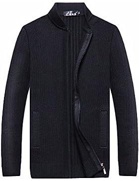 MEI&S Uomini Zip calda maglia spessa Cardigan maglione maglieria cappotto giacca con cappuccio