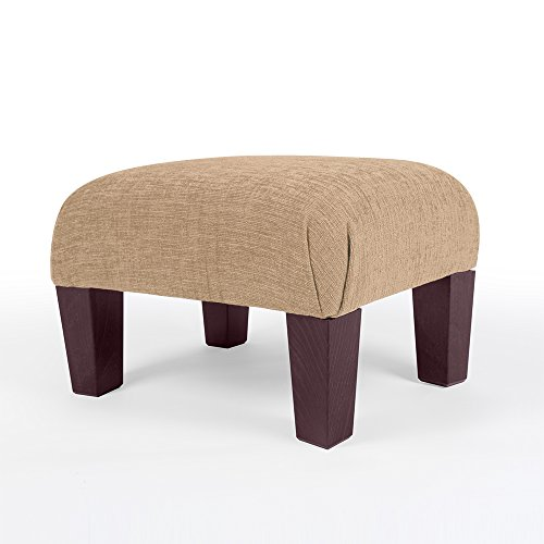small footstool available in 10 colours chenille fabric medium ottoman seat plus real wood legs large pouffe footrest for the couch choice of 3