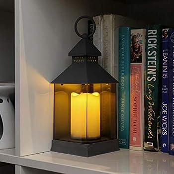 lanterne avec bougie led piles gris noir ou blanc. Black Bedroom Furniture Sets. Home Design Ideas