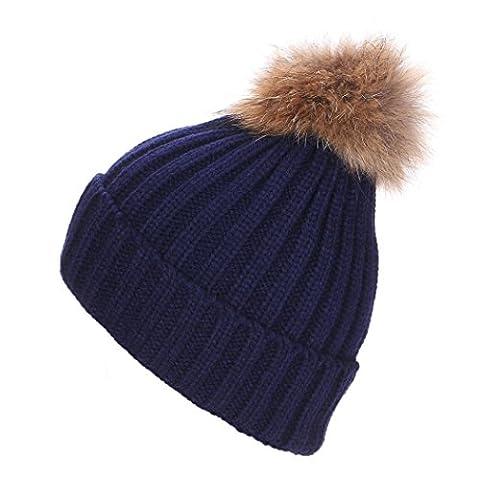 Womens Beanie,Clode® 2016 New Women Crochet Hat Fur Woolen Knit Beanie Raccoon Warm Caps with Pom Pom (Navy)
