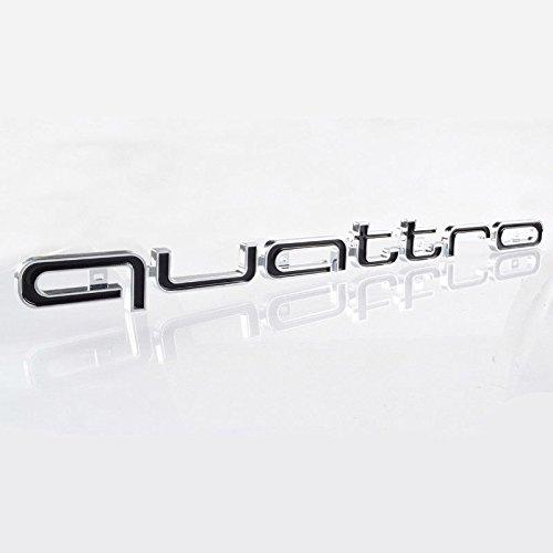 BIOENGIE Front Grill 3D Quattro Embleme Auto Abzeichen Fahrzeug Dekoration, 16,5 x 1,7 inch, 1 Stück, Schwarz