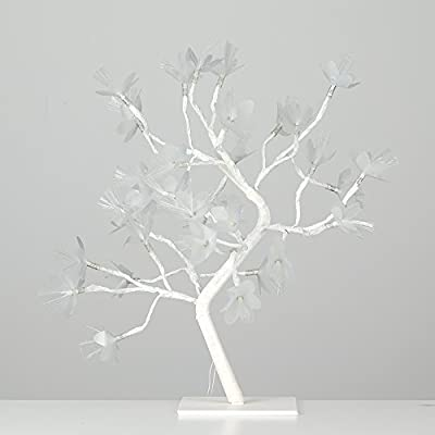 Decorative Battery Operated 32 Warm White LED Bonsai Style Tree Table Lamp Light with Fibre Optic Flowers - 45cm