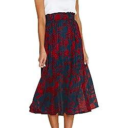 Ajpguot Verano Mujer Punto de Onda Midi Faldas Casual Falda de Playa Elegante Largo Faldas de Partido Fiesta Beachwear Skirt (L, 101082 Cian)