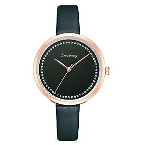 Hffan Damen Einfach Armbanduhren für Frauen mit Strass Freizeituhr Quarzuhr PU Lederband Beobachten Tabelle Handschmuck Armband Uhren Damenuhr Uhr Elegant