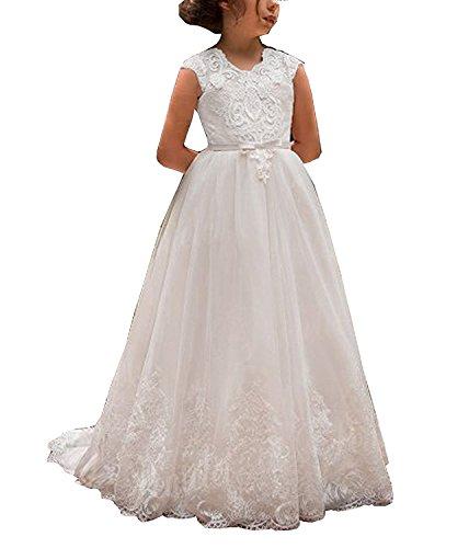 Cinderella Benutzerdefinierte Kostüme (CLLA dress Mädchen Spitze Blumenmädchen Kleider Hochzeits Kleid Prinzessin Erste Kommunionskleid Brautjungfern Partykleider(Elfenbein,3-4)