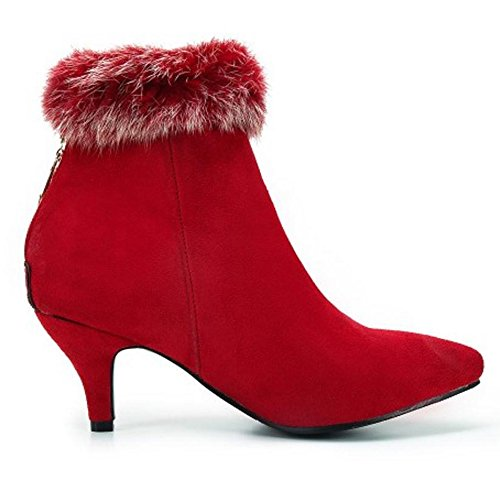COOLCEPT Femmes Botines Bottes Fermeture Eclair red