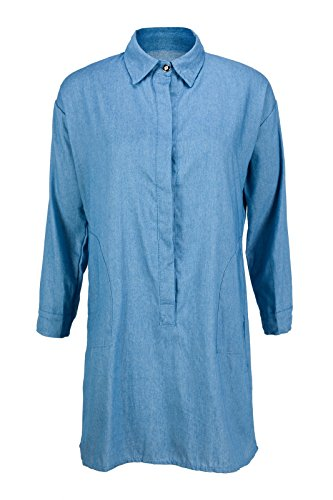 Beauty7 Damen Langarm Button-Down Demin Blusenkleid Knielang Column Denim Kleid Casual Wear - Farbe: Hellblau - Größe: EU 44 (Denim-kleid Button-down)