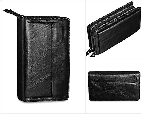 rren Leder Clutch Geldbörse Wristlet Reißverschluss Passport Organizer Halter Handgelenk Tasche Pack für Business Travel Casual Handtasche Business casual tägliche Clutch ()