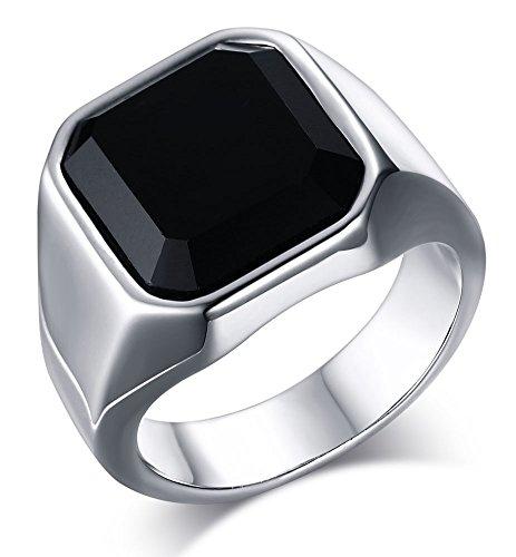 HUANIAN  -  Edelstahl  Edelstahl Rund    Zirkonia  (10k Birthstone Ring)